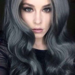 "💫26""DARK GREY STEEL BODY WAVE LACE FRONT WIG💫🆕"